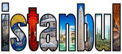 Istanbul word montage Stock Photos