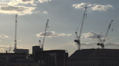 Aerial view construction site crane machine new building London downtown day  Stock Footage