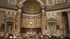 main altar inside the pantheon, rome - stock footage