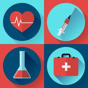 Trendy medical icons with shadow. Flat design style - stock illustration
