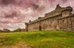 Craigmillar Castle Digital Painting - stock illustration