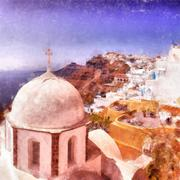 Fira church digital watercolor painting - stock illustration