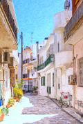 Lerapetra Street Scene Digital Painting Stock Illustration