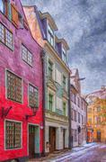Riga Street Painting - stock illustration