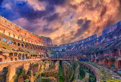 Rome Colosseum Interior Digital Painting Stock Illustration