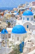 Santorini Oil Painting - stock illustration