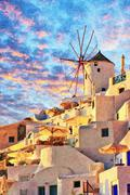 Santorini Windmill at Oia Digital Painting - stock illustration