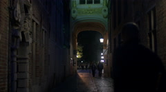 Part of The Oude Civiele Griffie building seen at night in Bruges Stock Footage