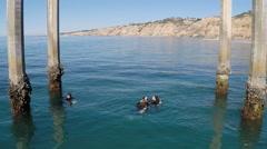 AERIAL: Scuba Divers Under a Pier Stock Footage