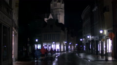 Saint Salvator's Church seen at night in Bruges Stock Footage