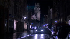 St Salvator's Cathedral seen at night from Steenstraat in ruges Stock Footage