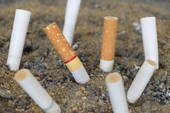 Cigarette in ashtray Stock Photos