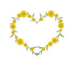 Beautiful Yellow Daisy Flowers in Heart Shape - stock illustration