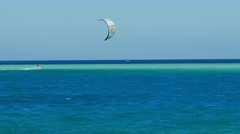 Kite surfing, kiteboarding on the Red Sea, Egypt. Extreme Sports, tourism  - stock footage