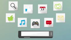 smartphone app mobile device animation 4k - stock footage
