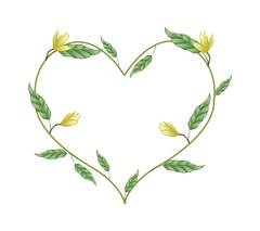 Yellow Magnolia Blossoms in A Heart Shape - stock illustration