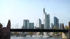 Frankfurt Germany seen in distance from boat trip down Main river Stock Footage