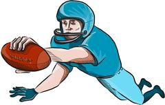 American Football Player Touchdown Drawing - stock illustration