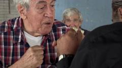 Old Men Fist Fighting Stock Footage