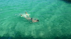 Tourist male vacationer swims and dives with flippers in Red Sea  - stock footage