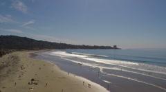Scripps Pier, La Jolla, San Diego, California Beach Aerial Stock Footage