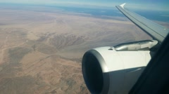 View from the airplane. Flying aicraft over desert near the Red Sea - stock footage