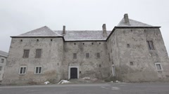Castle of gray stone on a winter day Stock Footage