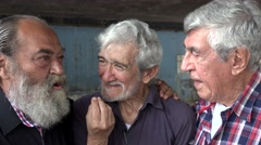 Lasting Friendship Between Old Men Stock Footage