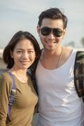 Portrait couples of younger asian man and woman toothy smile with happiness f Stock Photos