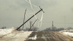 Ice storm weighs down power lines - stock footage