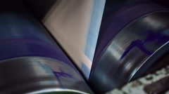 Industrial Offset Press Cyan Drum Handheld - stock footage