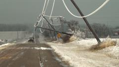 Heavy ice on power lines Stock Footage