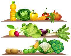 Fresh vegetables and oil on the shelf - stock illustration