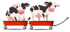 Two cows standing on the wagon Stock Illustration