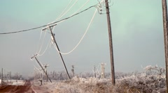 Ice Storm Poles bent over - stock footage