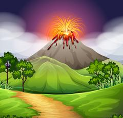 Nature scene of volcano eruption - stock illustration