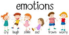 Children expressing different emotions - stock illustration