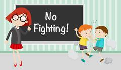 Boy fighting in front of no fighting sign - stock illustration