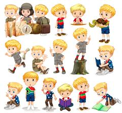 Blond boy doing different activities - stock illustration
