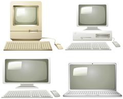 Different generation of personal computer Stock Illustration