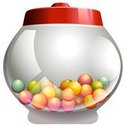 Bubble gum in the glass jar Stock Illustration