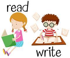 Girl reading and boy writing Stock Illustration
