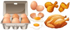 Eggs and fried chicken - stock illustration