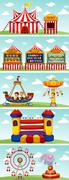 Different rides at the circus - stock illustration