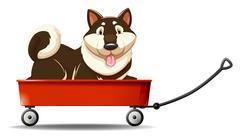 Little puppy sitting on wagon Stock Illustration