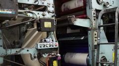 Industrial Offset Press Cyan Magenta Drums Stock Footage