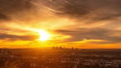 Fiery sunrise over city of Los Angeles skyline cityscape. Zoom in on downtown 4K Stock Footage