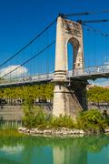 Old Passerelle du College bridge over Rhone river in Lyon, France - stock photo