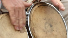 Hands Banging Bongo Drums Stock Footage