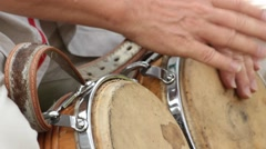 Drummer Playing Bongo Drums Stock Footage